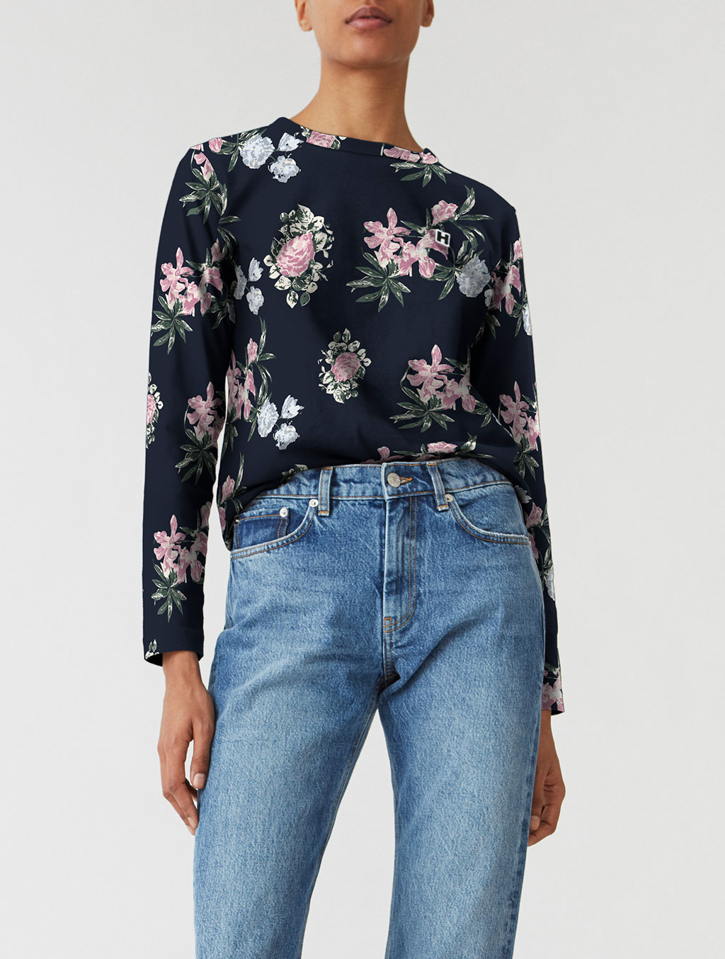 Model with modified sweatshirt - with added floral pattern